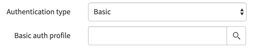 Set the authentication type to Basic.