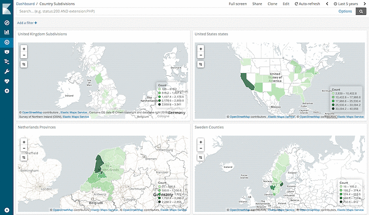 New Country Subdivision Vectors in the Elastic Maps Service