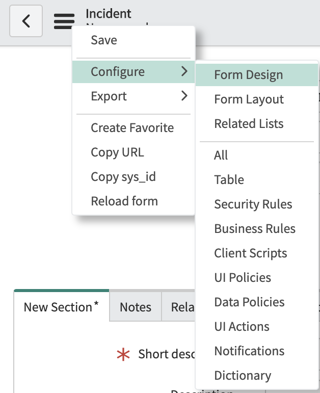 The ServiceNow form design wizard.